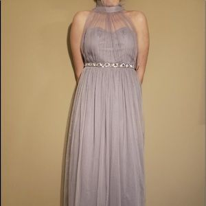Asos long maxi purple formal dress tulle beaded